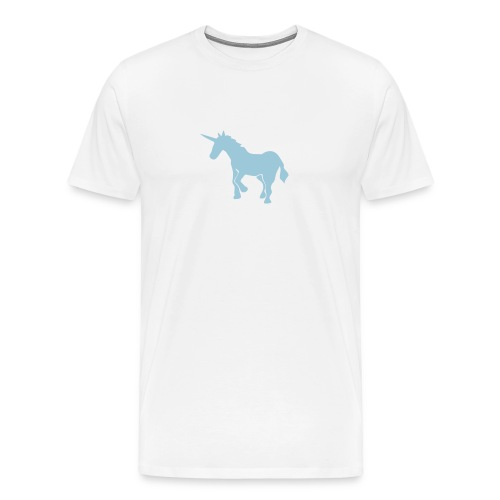 WHITE T-SHIRT WITH UNICORN - Men's Premium T-Shirt