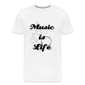 Music is Life White - Men's Premium T-Shirt
