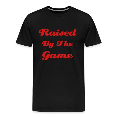Raised By The Game Black Tee w/ Red Logo - Men's Premium T-Shirt