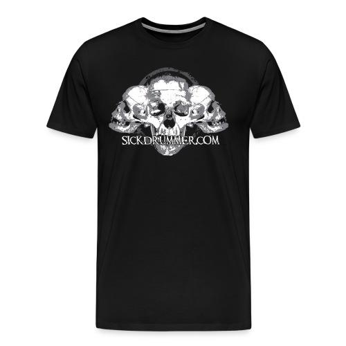 Sick Drummer 3 Skull Short Sleeve - Men's Premium T-Shirt