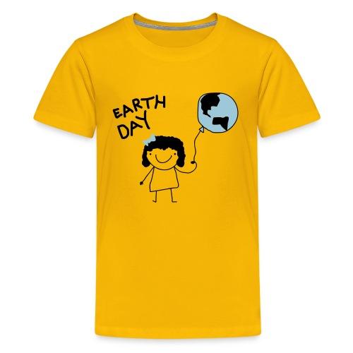 Earth Day - Girl and Balloon - Kids' Premium T-Shirt