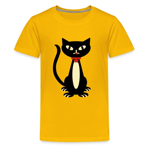 Kool Kids Tees 'Fancy Cat' Youth Tee, Yellow - Kids' Premium T-Shirt
