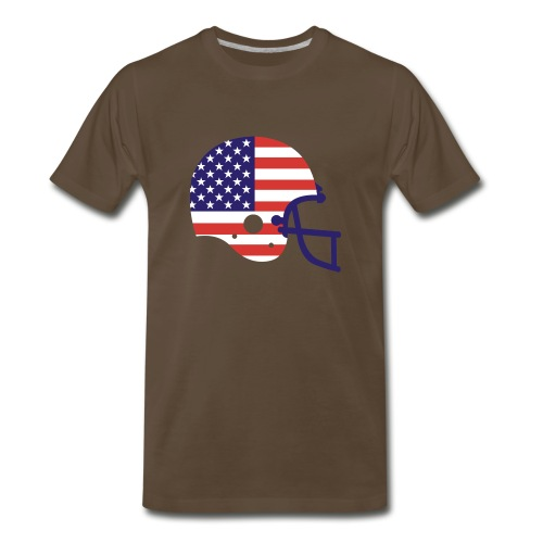 T-SHIRT Football Helmet AMFlag chocolate - Men's Premium T-Shirt