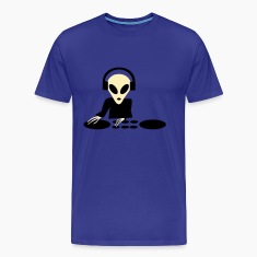 Royal blue DJ Alien Turntables T-Shirts (Short sleeve)