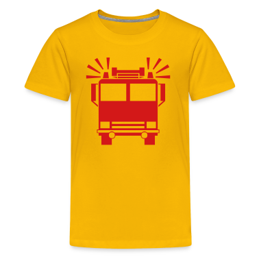 Yellow firetruck Kids Shirts