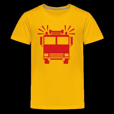 Yellow firetruck Kids Shirts