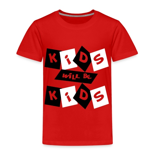 Kool Kids Tees 'Kids Will Be Kids' Toddler Tee in Red - Toddler Premium T-Shirt