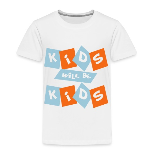 Kool Kids Tees 'Kids Will Be Kids' Toddler Tee in White - Toddler Premium T-Shirt