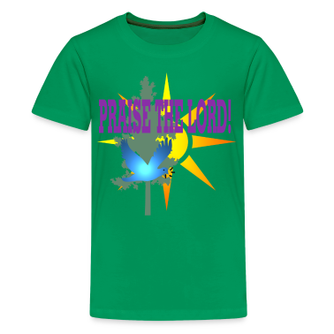 Kelly green praise_the_lord_01 Kids Shirts