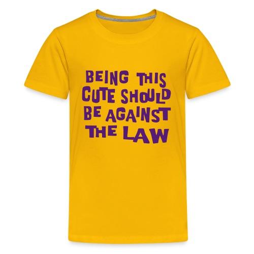 Kool Kids Tees 'Being This Cute, Against Law' Kids' Tee in Yellow - Kids' Premium T-Shirt