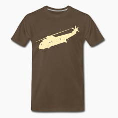 Chocolate Cool Military helicopter Flex Graphic T-Shirts
