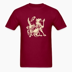 Burgundy fashion vintage lion dragon T-Shirts