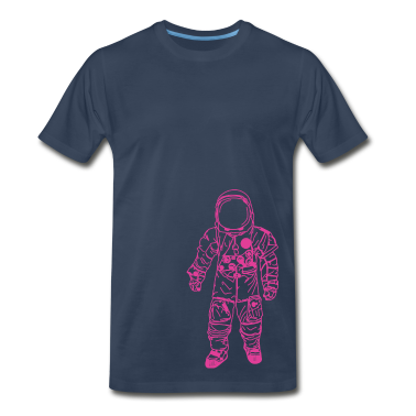 Navy moon man Pink T-Shirts