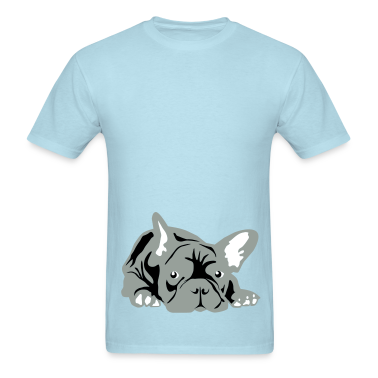 Sky blue French Bulldog big T-Shirts
