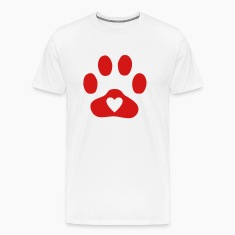 Natural Heart In Paw Print  - Dog, Cat T-Shirts