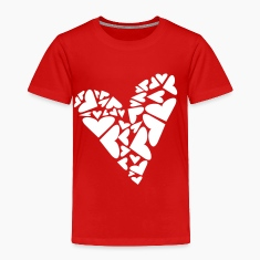 Red Hearts In Heart Formation, Asymmetrical Toddler Shirts