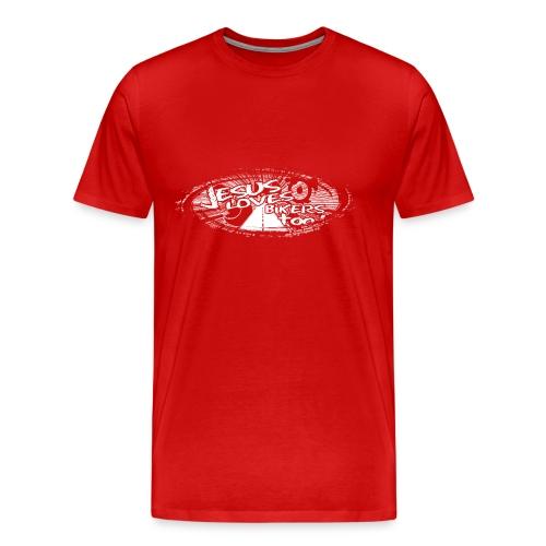 White logo Jesus Loves Bikers Too - Men's Premium T-Shirt