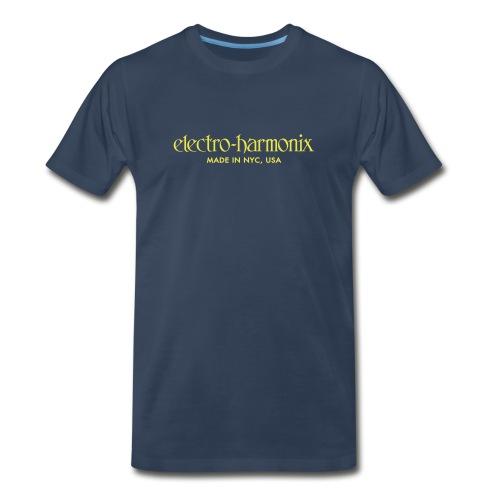 Electro-Harmonix: Yellow on Navy Blue - Men's Premium T-Shirt