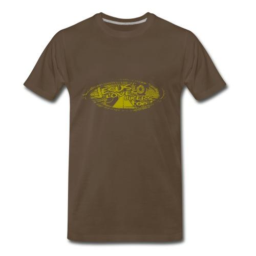 Gold logo Jesus Loves Bikers Too - Men's Premium T-Shirt
