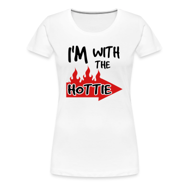 White I'm With The Hottie With Flaming Arrow Plus Size