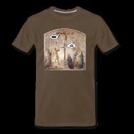 T-Shirts ~ Men's Premium T-Shirt ~ Crucified Jesus: BRB. Roman Soldier: LOL.