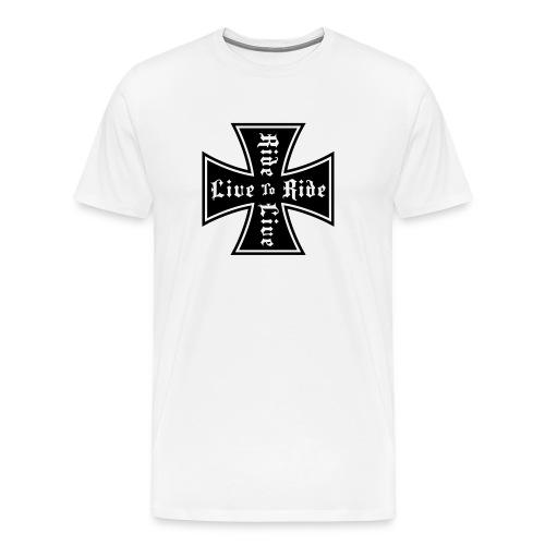 Live-To-Ride White 3X Men's T-Shirt - Men's Premium T-Shirt