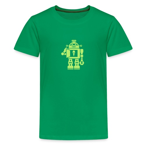 Ice Cream Robot [Lt Grn on Grn] - Kids' Premium T-Shirt