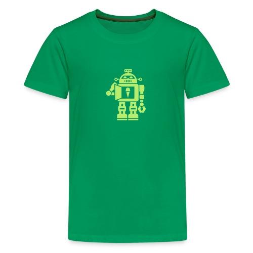 Ice Cream Robot [Lt Grn on Grn] - Kids' Premium T-Shirt