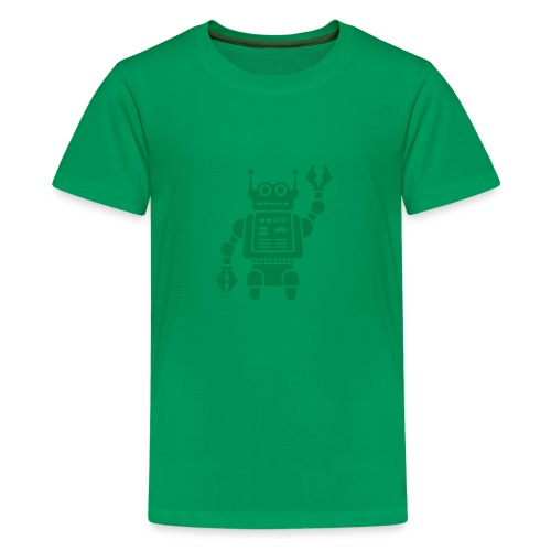 Friendly Robot [dk grn on grn] - Kids' Premium T-Shirt
