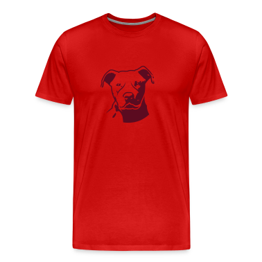 Red pitbull_head_front T-Shirts