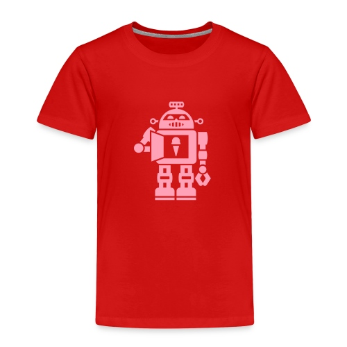 Ice Cream Robot [Pink on Red] - Toddler Premium T-Shirt