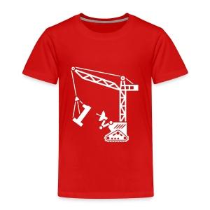 Big 1 [Fuzzy Wht on Red] - Toddler Premium T-Shirt