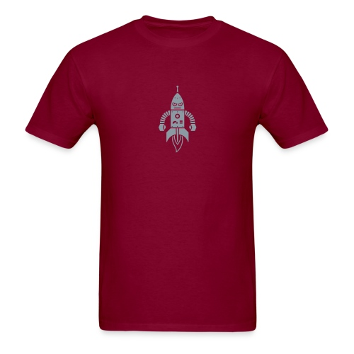 Astrobot [Silver on Burgundy] - Men's T-Shirt