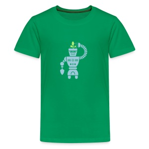 GrowBot [Lt Blu on Grn] - Kids' Premium T-Shirt