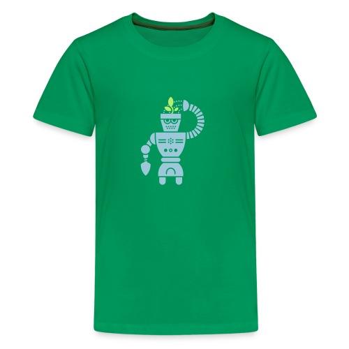 GrowBot [Lt Blu on Grn] - Kids' Premium T-Shirt