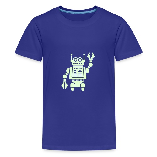 Friendly Robot [Glow on Blu] - Kids' Premium T-Shirt