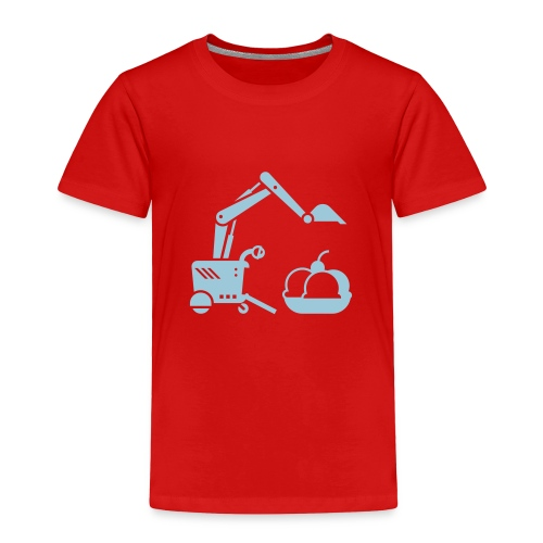 Ice Cream Scoop [Lt Blu on Red] - Toddler Premium T-Shirt