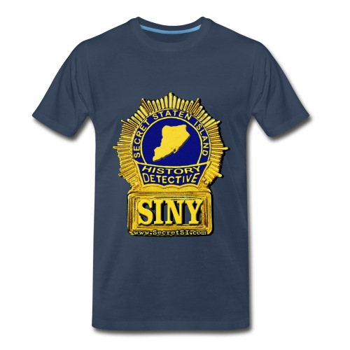 Staten Island History Detective Shield - Navy, Heavyweight - Men's Premium T-Shirt