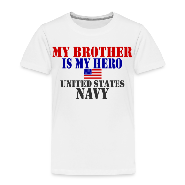White BROTHER HERO NAVY Toddler Shirts