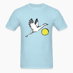 Sky blue Crane over Sun T-Shirts