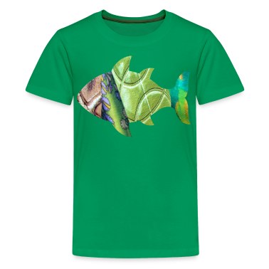 Kelly green collage art FISH (greens) Kids' Shirts