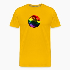 Gold gay pride globe T-Shirts
