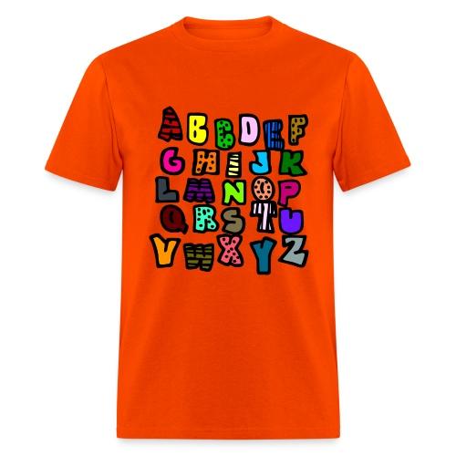 WUBT 'Alphabet Multi-Colored Patterns-DIGITAL DIRECT' Men's HW Tee, Orange - Men's T-Shirt