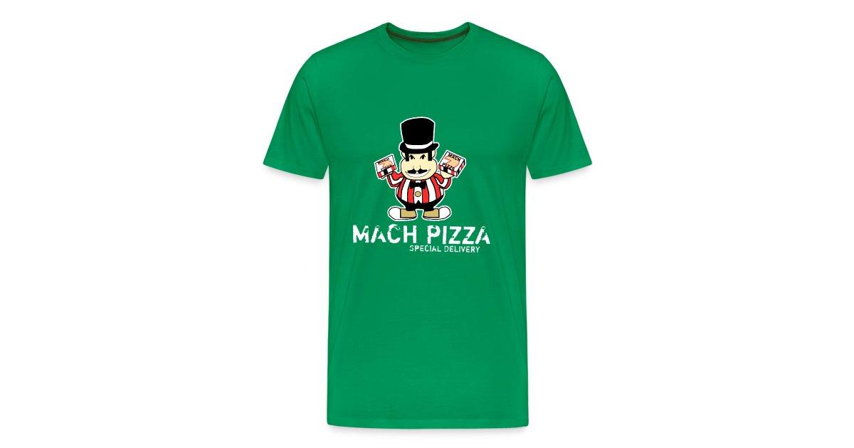 e1f14564ddf8d Critical Hit Clothing | Mach Pizza Mens Green T-Shirt - Mens Premium T-Shirt