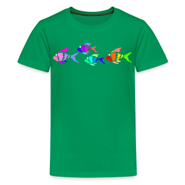 Kelly green Colorful fish (dark shirts) Kids' Shirts