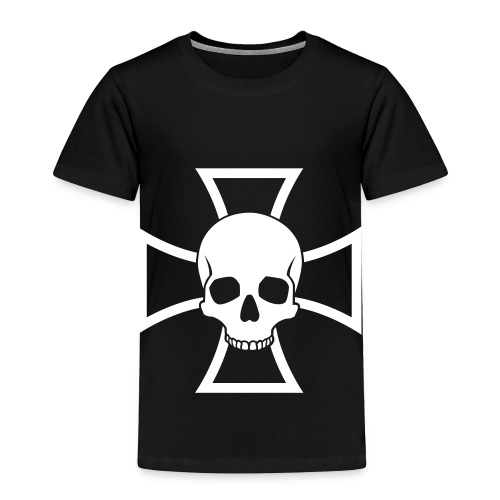 Skull & Iron Cross - Black - Toddler Premium T-Shirt