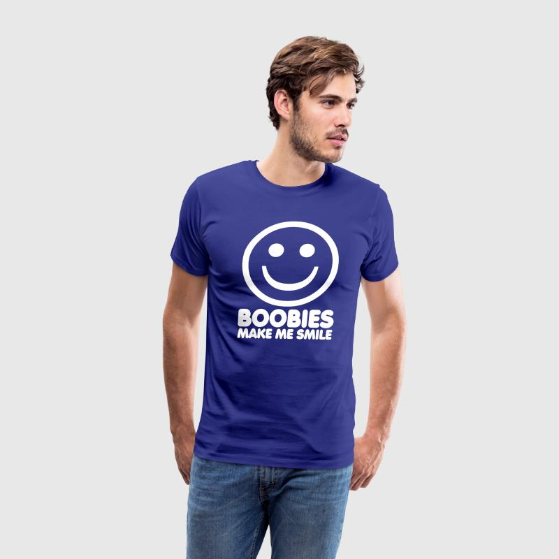 Royal blue Boobies Make Me Smile T-Shirts - Men's Premium T-Shirt