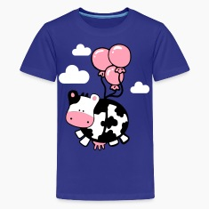 Turquoise flying cow Kids' Shirts