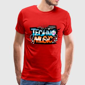 Red Techno Music T-Shirts - Men's Premium T-Shirt