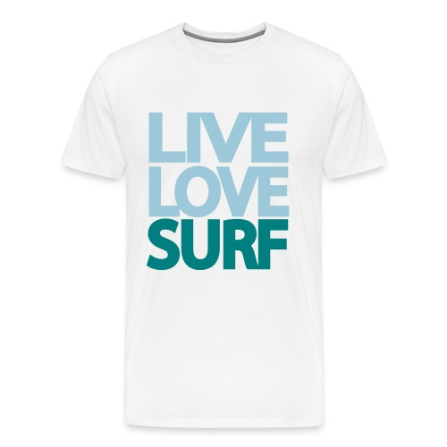 Guys LiveLoveSurf Shirt - White - Men's Premium T-Shirt